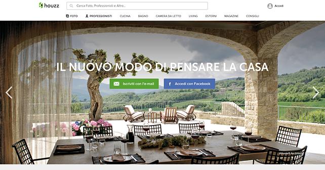 Houzz Italia, homepage