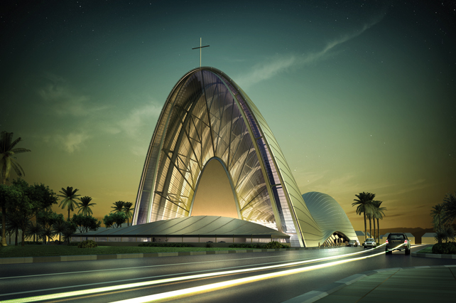 Chiesa cattolica della trasfigurazione Lagos, Nigeria. Vista renderizzata della facciata principale.