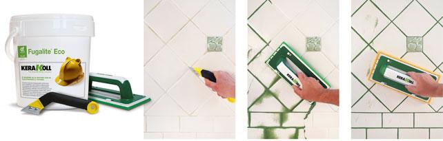 Rimozione e rinnovo 1. Con il raschietto Fuga-Remove si asporta il vecchio stucco per una profondità di almeno 2 mm. 2. Si aspira il residuo e si applica Fugalite Eco utilizzando una spatola di gomma, premendolo bene. 3. Prima della completa asciugatura si passa una spatola spugnosa inumidita con acqua pulita. Fugalite Eco è disponibile in 3 collezioni (Classic, Design e Colors) per un totale di 28 tinte. Si può scegliere in piena libertà se dare alla fuga un aspetto omogeneo o contrastante con la tonalità delle piastrelle.