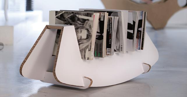 Portariviste Dondo. Prodotto da Alpac. Design: Fabio Biavaschi. Misure 89 x h 33 x 30 cm