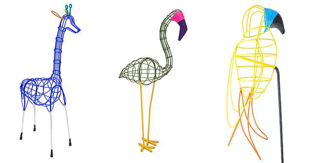 Giraffe, Flamingo and Parrot for Marni Flower Market.