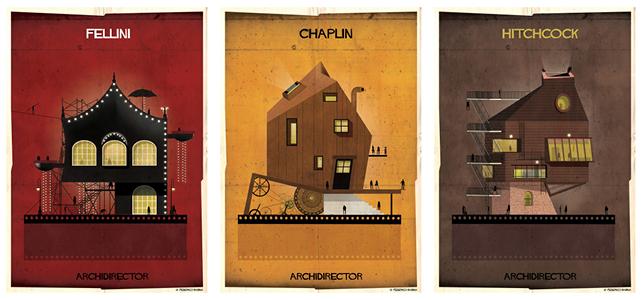 ARCHIDIRECTOR, Federico Fellini, Charles Chaplin, Alfred Hitchcock. © Federico Babina