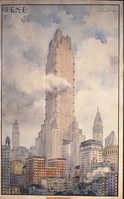 STUDIO PER IL GRATTACIELO S. K. N. E., New York (USA), 1920 (non realizzato)