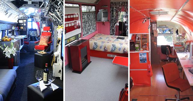 Winvian, Usa. Dormire in un elicottero  Controversy Tram Hotel, Paesi Bassi. Dormire in un tram Bel Repayre, Francia. Una roulotte americana Airstream in stile retro